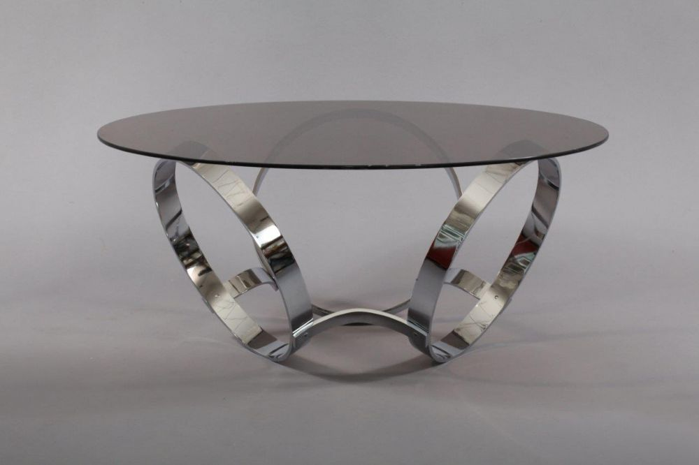 Space Age Styling Round Glass Top Cocktail Table W